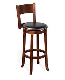 "30""H Cappuccino Swivel Barstool, Cushion Seat"