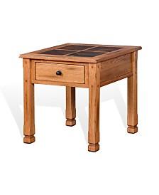 """Sedona 28""""H Rustic Oak End Table, Slate Top"""