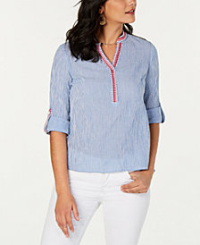 Style & Co Petite Cotton Striped Top, Created for Macy's
