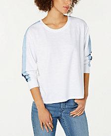 Style & Co Striped-Sleeve Sweatshirt, Created for Macy's