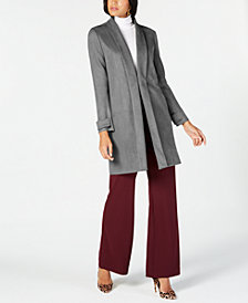 I.N.C. Faux Suede Cocoon Coat, Created for Macy's