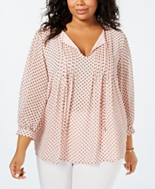 Tommy Hilfiger Plus Size Printed Pintucked Top