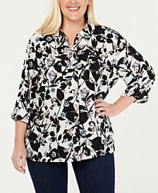 Plus Size Floral-Print Utility Shirt
