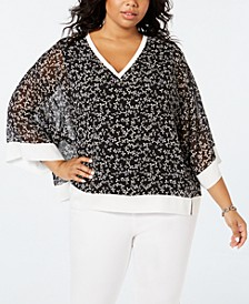 Plus Size Printed Chiffon Top
