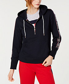 Tommy Hilfiger Logo Half-Zip Hoodie, Created for Macy's