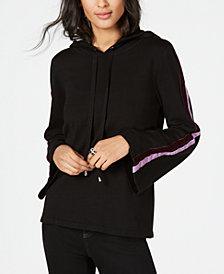 I.N.C. Velvet Varsity-Stripe Hoodie, Created for Macy's