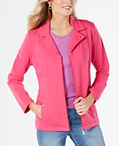 78d26e7d0 Karen Scott Notched-Lapel Zip-Front Jacket
