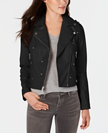 French Connection Studded Faux-Leather Moto Jacket