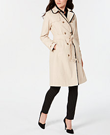 kate spade new york Double-Breasted Contrast-Trim Trench Coat