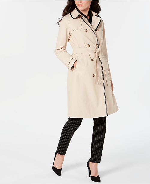 ace41486f429 ... kate spade new york Double-Breasted Contrast-Trim Trench Coat ...