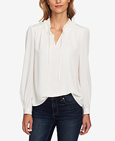 CeCe Ruffled V-Neck Blouse