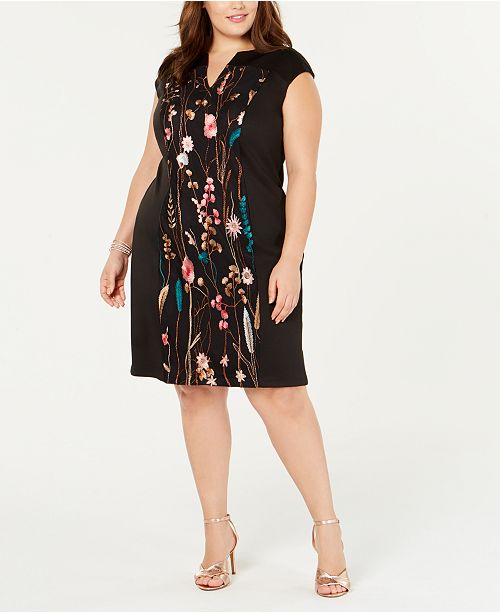 Connected Plus Size Embroidered Sheath Dress