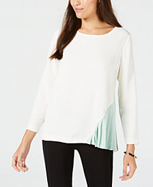 Alfani Colorblocked Pleated-Side Top, Created for Macy's