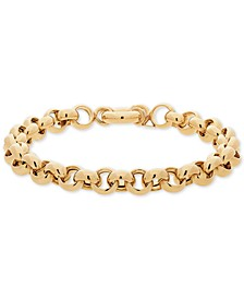 Round Rolo Link Bracelet in 14k Gold-Plated Sterling Silver