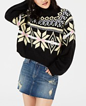 Planet Gold Juniors  Printed Mock-Neck Cropped Sweater f04678178