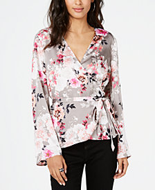 I.N.C. Floral Wrap Blouse, Created for Macy's