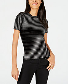 Maison Jules Striped Ruffled-Hem Top, Created for Macy's