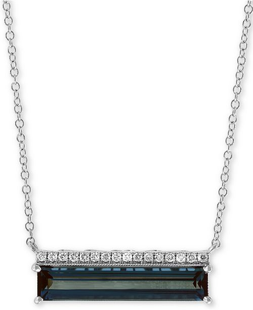 """EFFY Collection EFFY® London Blue Topaz (3 ct. t.w.) & Diamond Accent 18"""" Pendant Necklace in 14k White Gold"""