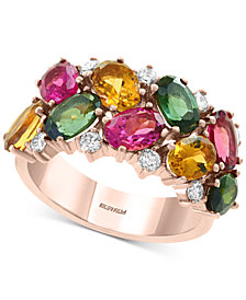 EFFY® Multi-Tourmaline (5-1/3 ct. t.w.) & Diamond ring in 14k Rose Gold