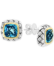 EFFY® Blue Topaz Stud Earrings (7-1/10 ct. t.w.) in Sterling Silver & 18k Gold