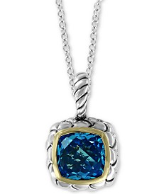 "EFFY® Blue Topaz 18"" Pendant Necklace (4-3/4 ct. t.w.) in Sterling Silver & 18k Gold"