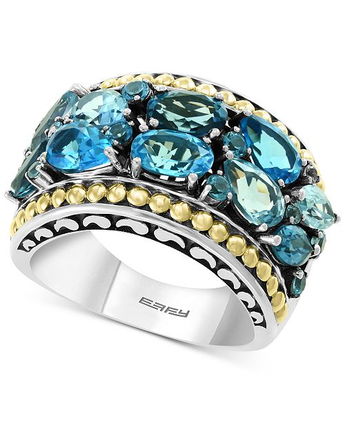 EFFY Collection EFFY® Blue Topaz Statement Ring (3-3/4 ct. t.w.) in Sterling Silver & 18k Gold