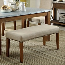 Industrial Bench With Ivory Color Flax Fabric