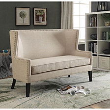 Nail head Trim Wingback Design Love Seat Bench With Fabric Upholstery