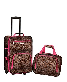 Rockland 2PCE Leopard Softside Luggage Set