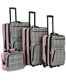 4PCE Pink Plaid Softside Luggage Set