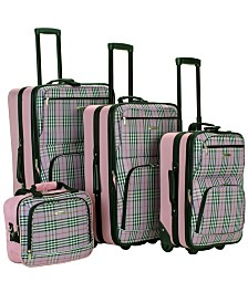 Rockland 4PCE Pink Plaid Softside Luggage Set