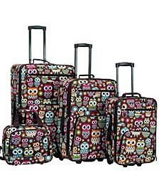 4PCE Owl Softside Luggage Set