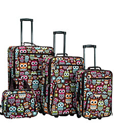 Rockland 4-Piece Owl Leopard Luggage Set