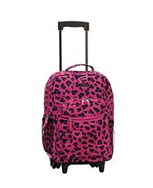 "Pink Leopard 17"" Rolling Backpack"