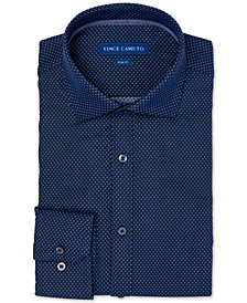 Vince Camuto Men's Slim-Fit Comfort Stretch Denim Mini Dobby Dress Shirt