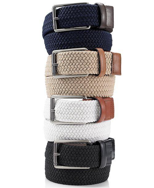 Perry Ellis Portfolio Men's Webbed Leather Trim Belt