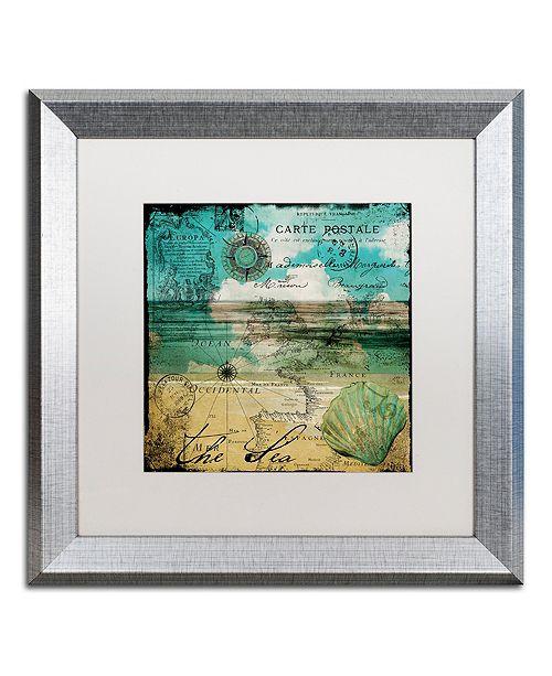 "Trademark Global Color Bakery 'Ocean Clouds Ii' Matted Framed Art, 16"" x 16"""