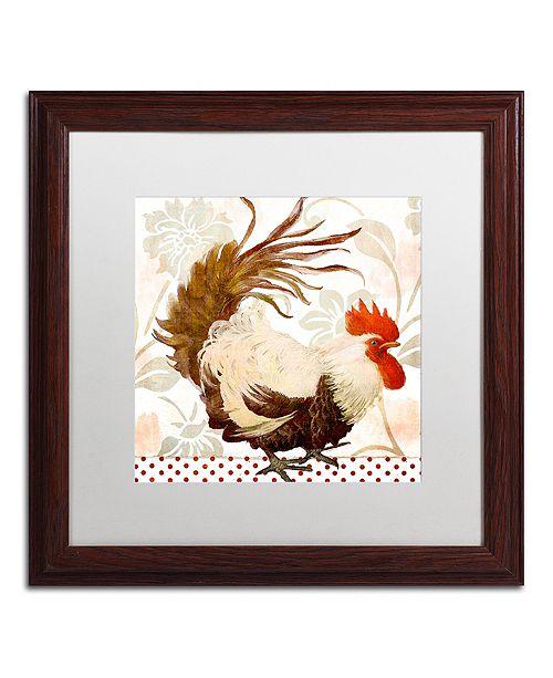 "Trademark Global Color Bakery 'Rooster Damask Ii' Matted Framed Art, 16"" x 16"""