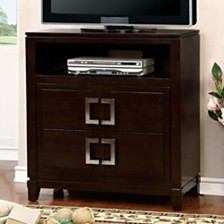 Modern Style Spacious Wooden Media Chest, Cherry Brown