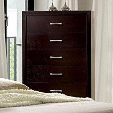 5- Drawer Wooden Chest with Sleek handles, Espresso Brown