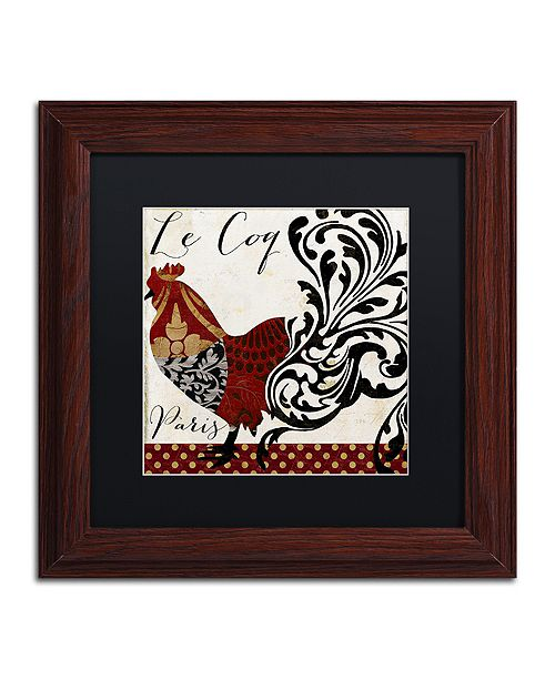 """Trademark Global Color Bakery 'Roosters Of Paris I' Matted Framed Art, 11"""" x 11"""""""