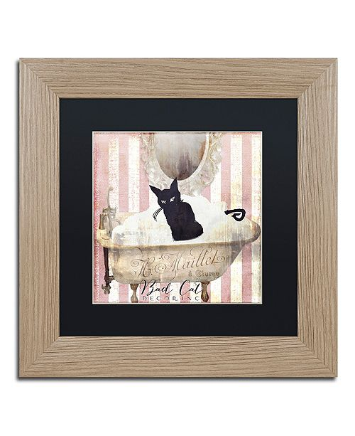 "Trademark Global Color Bakery 'Bad Cat Ii' Matted Framed Art, 11"" x 11"""
