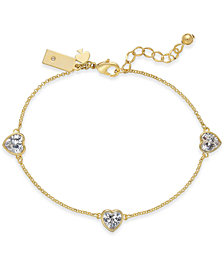 kate spade new york Gold-Tone Crystal Heart Link Bracelet