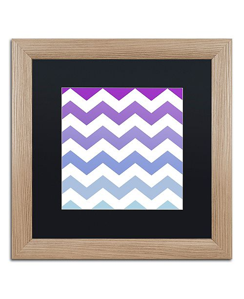 "Trademark Global Color Bakery 'Purple-Blue Chevron' Matted Framed Art, 16"" x 16"""