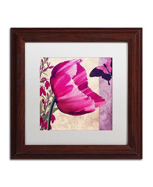 "Trademark Global Color Bakery ' Pink Poppy Ii ' Matted Framed Art, 11"" x 11"""