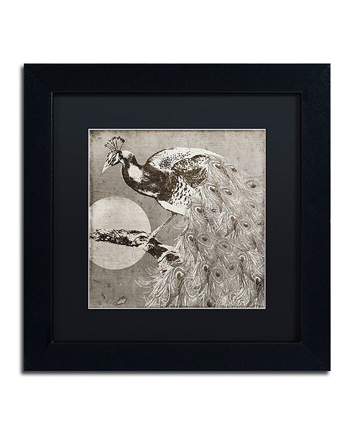 "Trademark Global Color Bakery 'Moon Peacock' Matted Framed Art, 11"" x 11"""