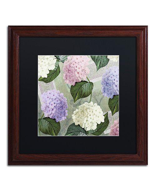 "Trademark Global Color Bakery 'Hortensia Soft Green' Matted Framed Art, 16"" x 16"""