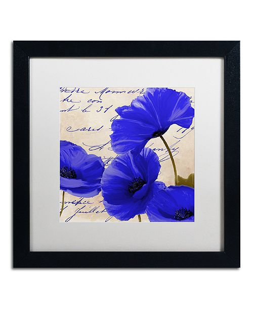 "Trademark Global Color Bakery 'Coquelicots Bleues I' Matted Framed Art, 16"" x 16"""