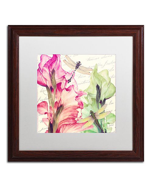"Trademark Global Color Bakery 'Dragonfly Morning Ii' Matted Framed Art, 16"" x 16"""