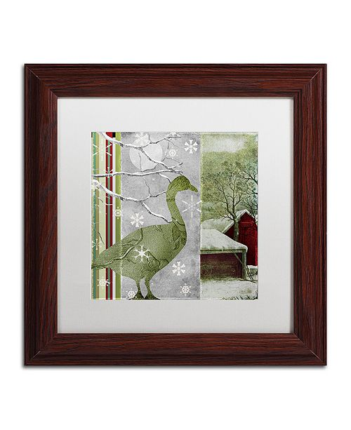"Trademark Global Color Bakery 'Country Xmas Duck' Matted Framed Art, 11"" x 11"""